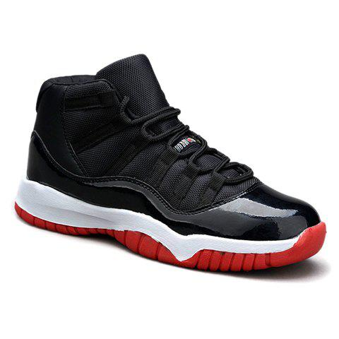 Fashionable Colour Block and PU Leather Design Athletic Shoes For Men - RED/BLACK 42