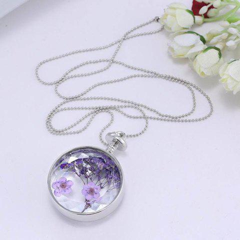 Trendy Round Lavender Specimens Floating Charm Necklace For Women - WHITE