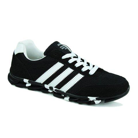 trendy striped and lace up design athletic shoes for