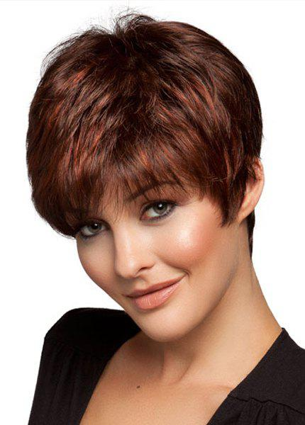 Noble Natutal Straight Light Brown Highlight Full Bang Short Capless Synthetic Wig For Women short pixie cut capless straight inclined bang synthetic wig