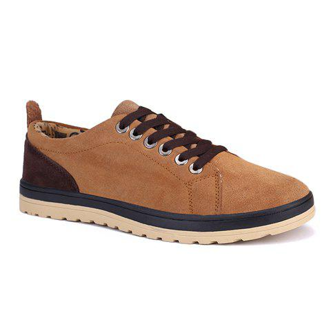 Fashionable Colour Block and Lace-Up Design Casual Shoes For Men - LIGHT BROWN 43