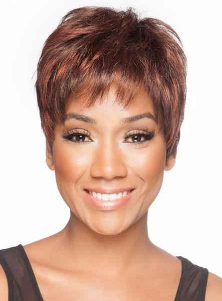 Spiffy Ultrashort Straight Inclined Bang Synthetic Light Brown Highlight Capless Wig For Women