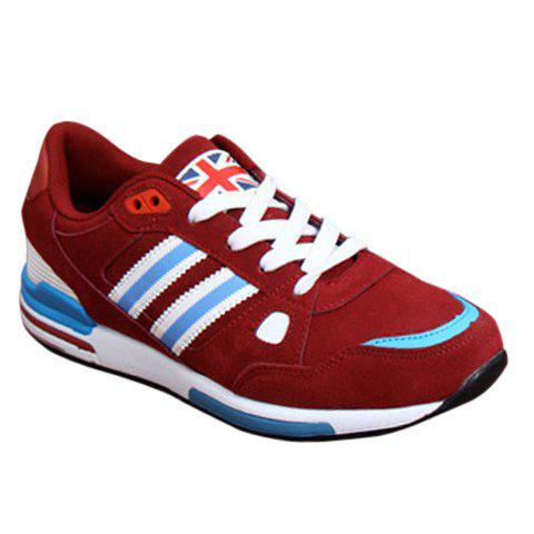 Casual Color Block and Suede Design Athletic Shoes For Men - RED 41