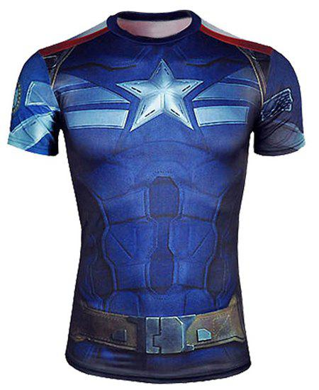 Skinny Fashion Round Neck 3D Captain America Pattern Short Sleeve Men's Quick-Dry Superhero T-Shirt - BLUE XL