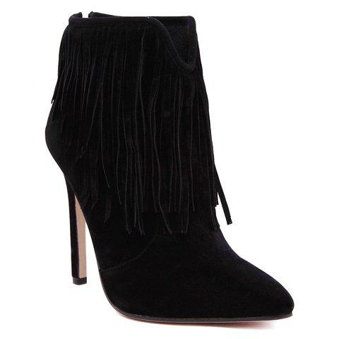 Sexy Suede and Fringe Design Womens Ankle BootsShoes<br><br><br>Size: 39<br>Color: BLACK