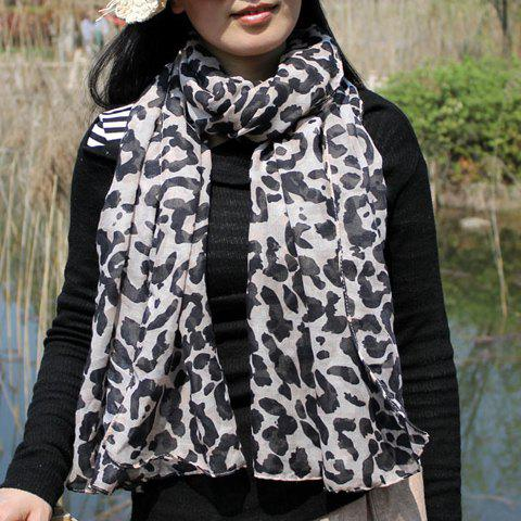 Chic Fulled Leopard Pattern Multifunctional Voile Scarf For Women - BLACK