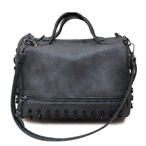Stylish PU Leather and Rivets Design Solid Color Tote Bag For Women