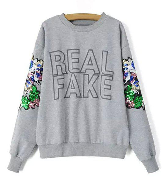 Stylish Round Neck Long Sleeve Letter Print Sequined Women's Sweatshirt - GRAY S