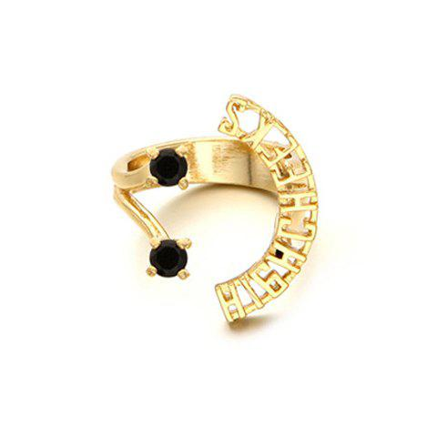 Delicate Chic Hollow Out Letter Shape Cuff Ring For Women - GOLDEN