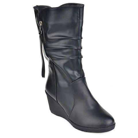 Stylish Ruched and Wedge Heel Design Mid-Calf Boots For Women - BLACK 39