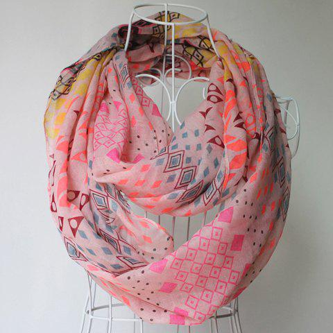 Chic Colorful Tribal Geometry Pattern Voile Bib Scarf For Women - PINK