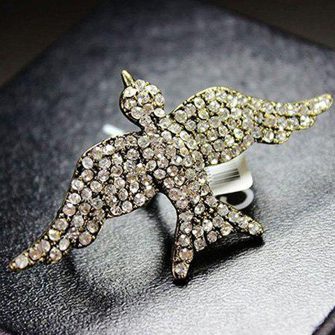 Exaggerate Chic Rhinestone Decorate Bird Shape Finger Ring For Women - Or