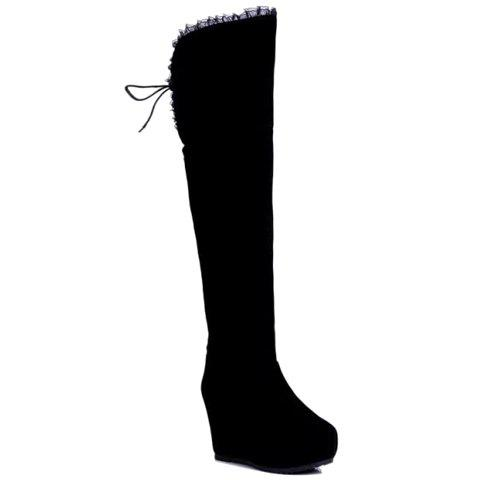 Sexy Suede and Lace Design Thigh Boots For Women - BLACK 35