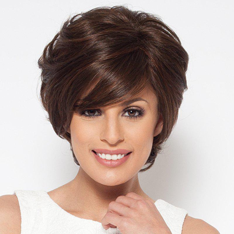 Shaggy Charming Wavy Short Capless Synthetic Inclined Bang Brown Mixed Women's Wig charming long shaggy wavy synthetic fashion side bang brown mixed capless wig for women