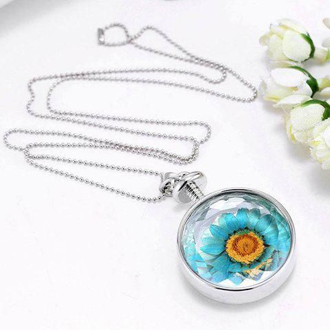 Trendy Round Sunflower Pendant Necklace For Women - SILVER
