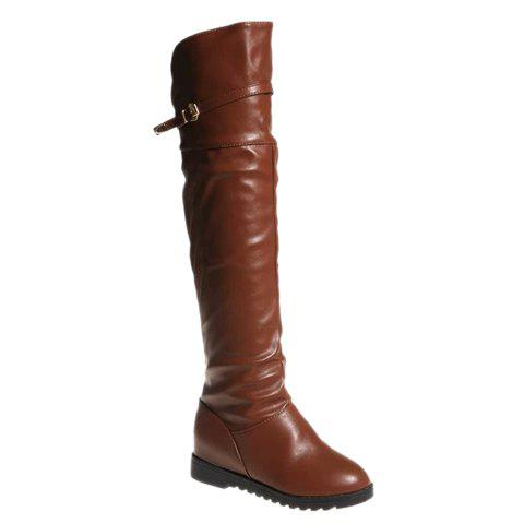 Simple Belt and Pleated Design Over The Knee Boots For Women - BROWN 35