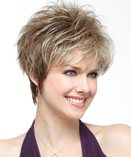 Fashion Heat-Resistant Fluffy Wavy Capless Short Inclined Bang Synthetic Wig For Women - COLORMIX