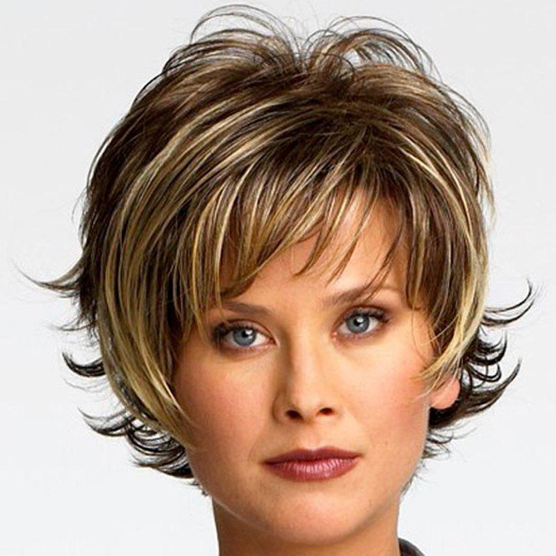 Trendy Mixed Color Fluffy Wavy Heat-Resistant Side Bang Short Capless Synthetic Women's Wig shaggy fashion short capless blonde mixed brown heat resistant fiber side bang wavy women s wig