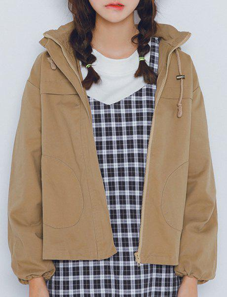 Casual Hooded Solid Color Long Sleeves Women's Coat - KHAKI S