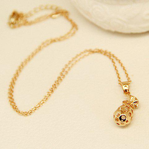 Sweet Solid Color Hollow Out Moneybag Pendant Necklace For Women - GOLDEN