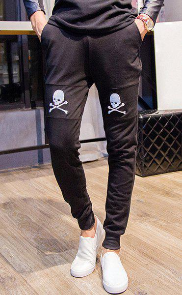 Trendy Lace-Up Slimming Skull Embroidered Beam Feet Cotton Blend Jogger Pants For Men - BLACK XL