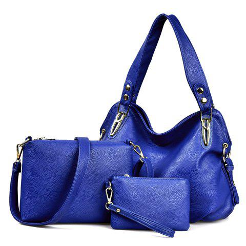 Simple Solid Color and Rivets Design Shoulder Bag For Women - DEEP BLUE