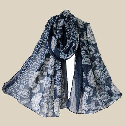 Chic Ethnic Paisley Print Voile Scarf For Women - PURPLISH BLUE
