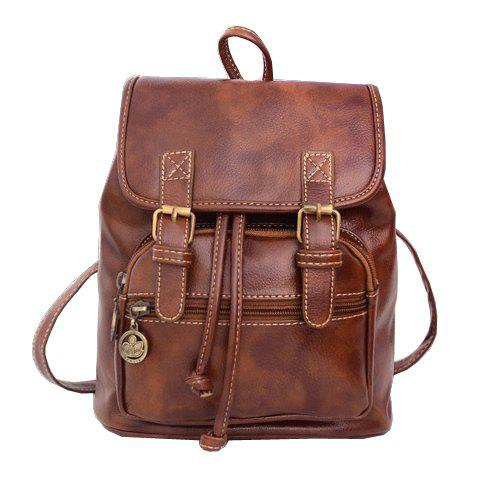 Trendy Zipper and Double Buckle Design Satchel For Women - LIGHT BROWN