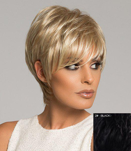 Graceful Assorted Color Side Bang Capless Short Real Natural Hair Straight Wig For Women - BLACK