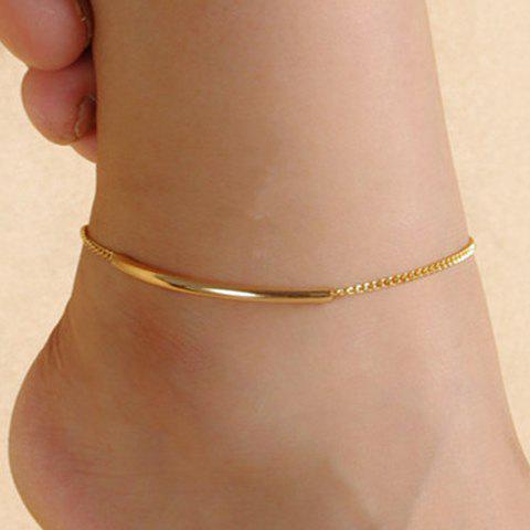 Trendy Solid Color Glazed Bent Tube Anklet For Women - GOLDEN