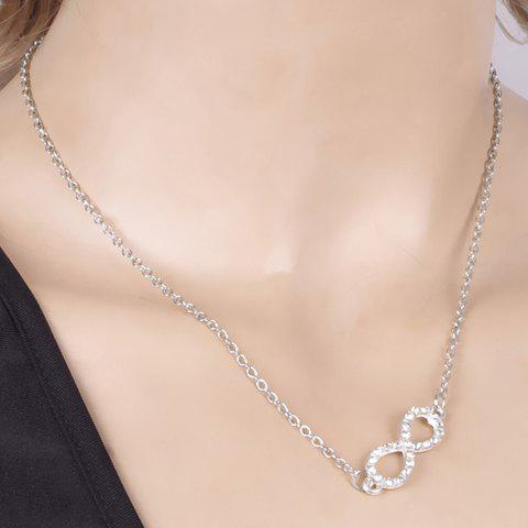 Delicate Rhinestone Infinity Solid Color Necklace For Women - SILVER