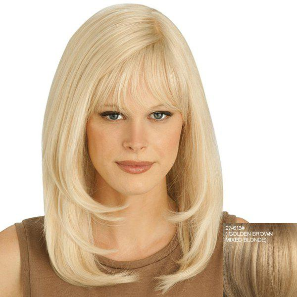 Bouffant Natural Wavy Attractive Full Bang Capless Long Women's Human Hair Wig - ASH BLONDE 2 / 3