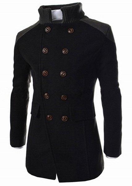 Slimming Stand Collar Inclined Top Fly Color Spliced Flap Pocket Men's Long Sleeves Peacoat - BLACK M