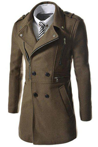 Elegant Fake Belt Inclined Top Fly Multi-Zipper Epaulet Design Slimming Lapel Long Sleeves Men's Peacoat - KHAKI L