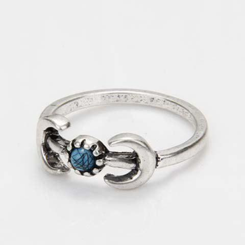 Faux Turquoise Moon Ring - SILVER ONE-SIZE