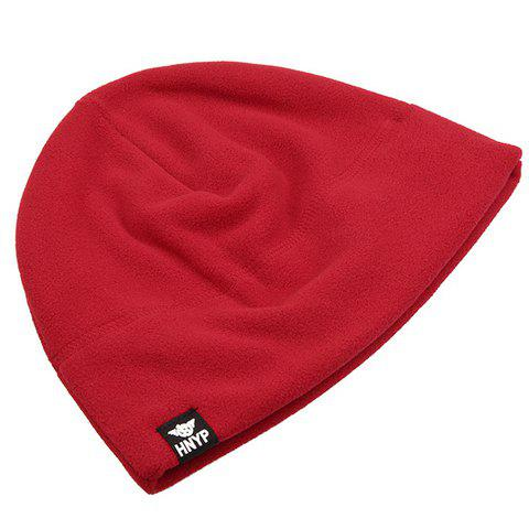 Stylish Labelling Embellished Solid Color Men's Fleeces Beanie - RED