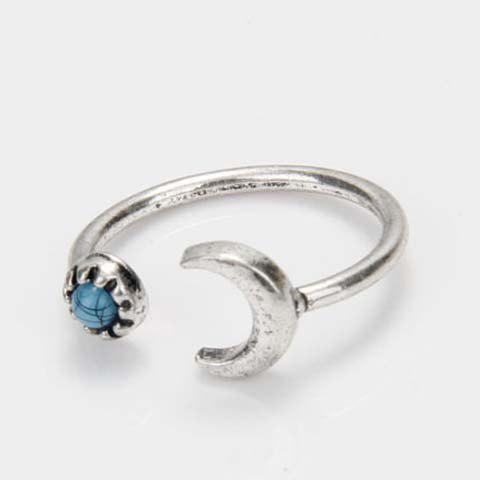 Faux Turquoise Moon Cuff Ring - SILVER ONE-SIZE