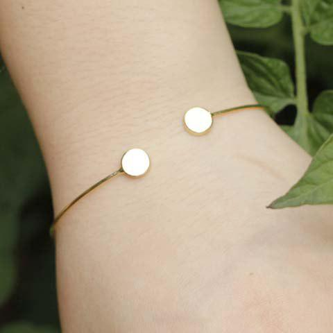 Trendy Pure Color Round Cuff Bracelet For Women