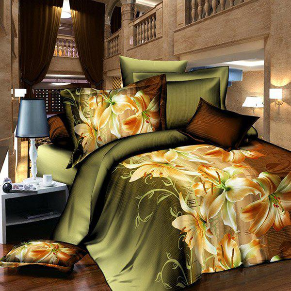 Elegant 3D Activity Lily Pattern Duvet Cover Full Size 4 Pcs Bedding Set (Without Comforter) - BLACKISH GREEN FULL