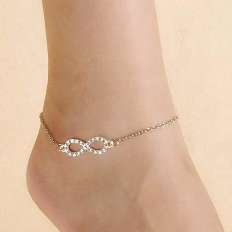 Simple Rhinestone Infinity Anklet For Women - SILVER