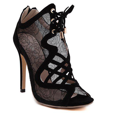 Sexy Flowers Pattern and Hollow Out Design Peep Toe Shoes For Women - BLACK 38