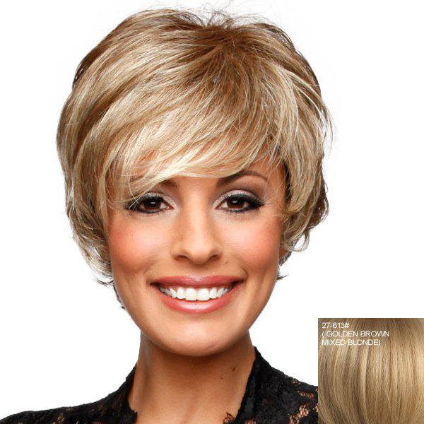 Stylish Towheaded Real Human Hair Wavy Layered Inclined Bang Short Capless Wig For Women - ASH BLONDE /