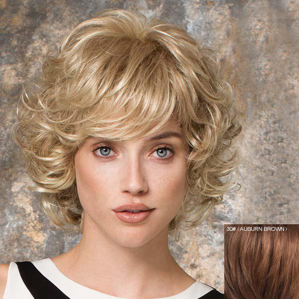 Fashion Bouffant Curly Short Inclined Bang Human Hair Capless Wig For Women - AUBURN BROWN