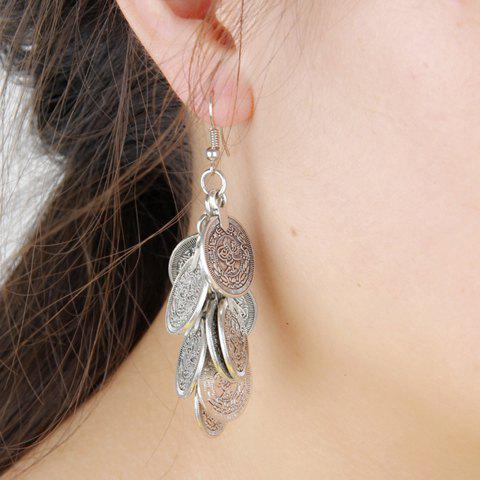 Pair of Tassel Coin Earrings - SILVER