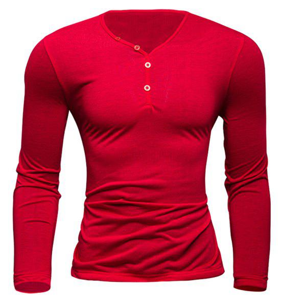 Simple Style V-Neck Single-Breasted Solid Color Slimming Men's Long Sleeves T-Shirt - RED M