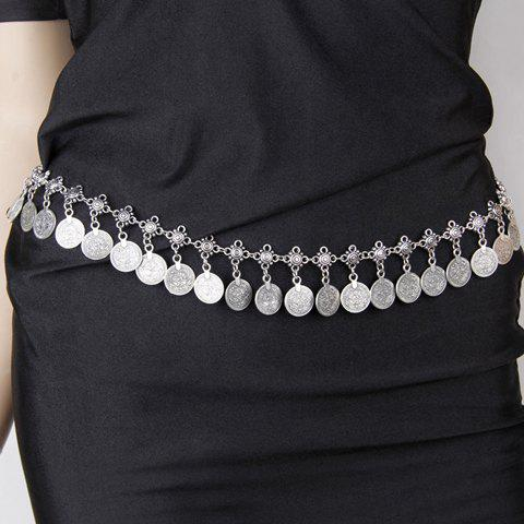 Vintage Coin Tassel Solid Color Body Chain For Women - SILVER