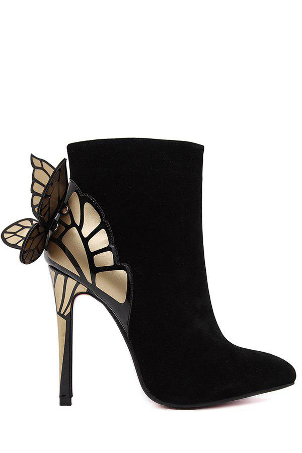 Stylish Butterfly Wings and Color Block Design Women's Ankle Boots - BLACK 35