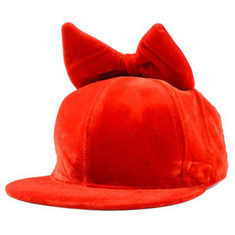 Cute Women's Bow Embellished Solid Color Velvet Baseball Cap - RED