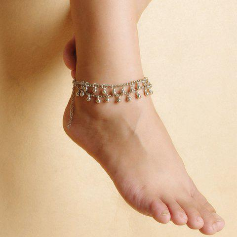Stylish Chic Bead Tassel Double-Layer Anklet For Women - SILVER