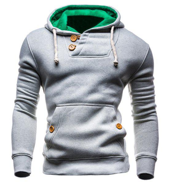 IZZUMI Slimming Hooded Single-Breasted Front Pocket Applique Design Long Sleeves Hoodie For Men купить недорого в Москве
